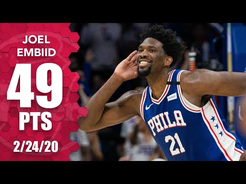 Joel Embiid celebrates career-high 49 points with Milly Rock vs. Hawks   2019-20 NBA Highlights