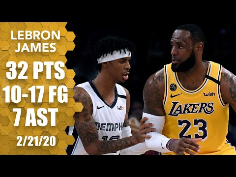 LeBron James steamrolls through Ja Morant and the Grizzlies with 32 points   2019-20 NBA Highlights