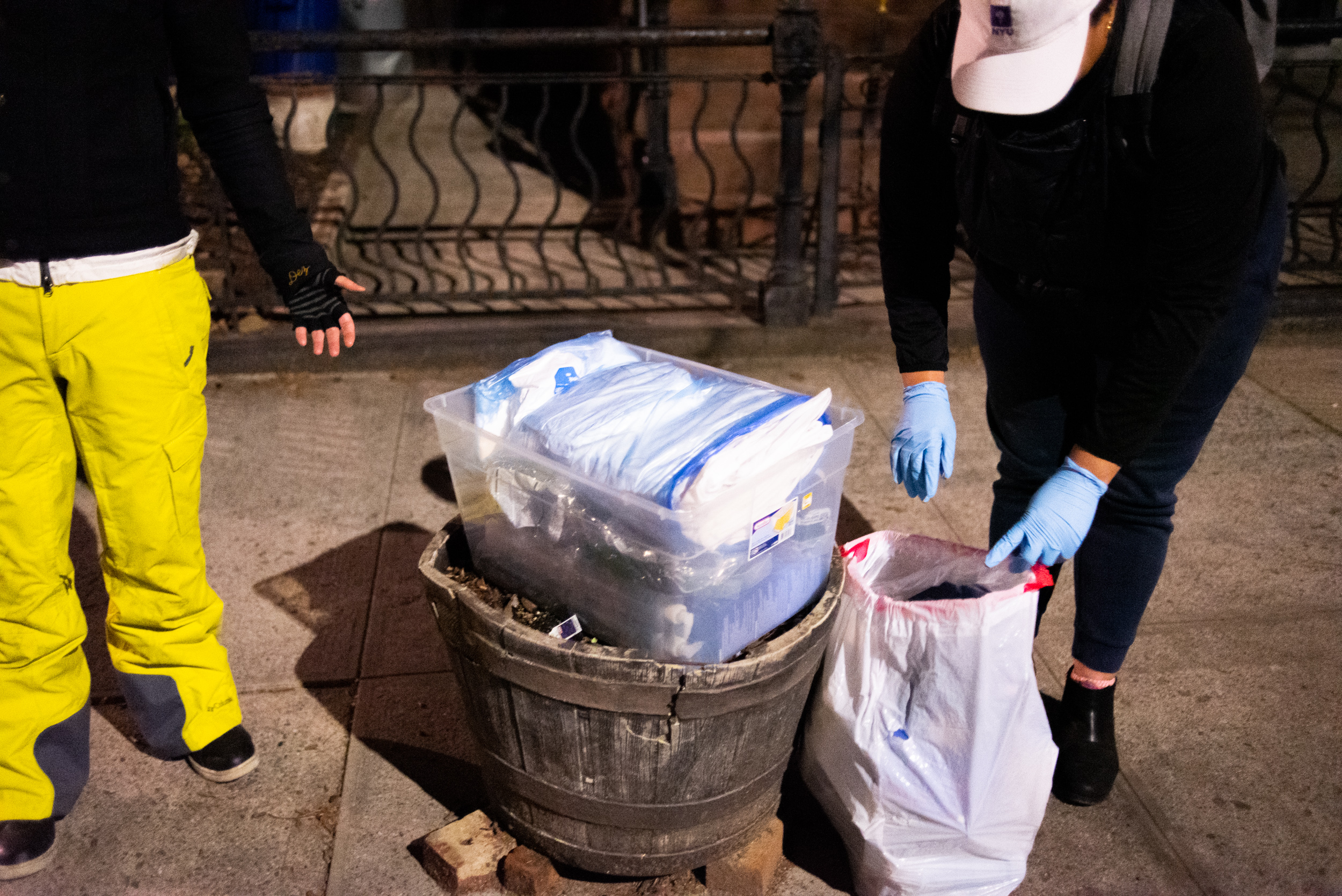 A delivery of personal protective equipment on a sidewalk in Brooklyn, New York.