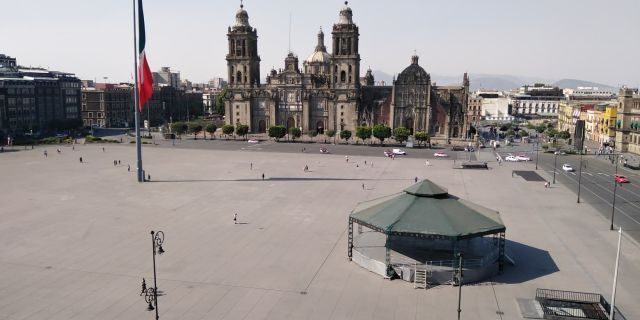 Amid the coronavirus pandemic, the Zócalo, normally packed with people, is completely empty.
