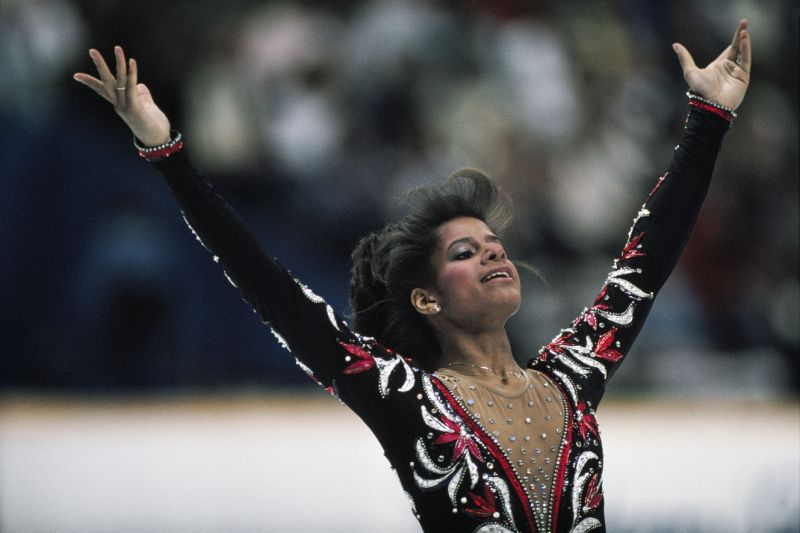 Debi Thomas from USA at the end of her performance in the women's long program of the 1988 Winter Olympics. (Photo by Gilbert Iundt; Jean-Yves Ruszniewski/TempSport/Corbis/VCG via Getty Images)