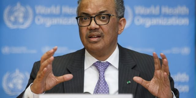 """Tedros Adhanom Ghebreyesus, Director General of the World Health Organization speaks during a news conference on updates regarding on the novel coronavirus COVID-19, at the WHO headquarters in Geneva, Switzerland earlier this month. On Monday, he said the pandemic was """"accelerating"""" as the number of confirmed cases continue to increase."""