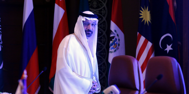 Saudi Minister of Energy, Industry and Mineral Resources Khalid al-Falih prepares to chair a meeting of energy ministers from OPEC and its allies to discuss prices and production cuts, in Jiddah, Saudi Arabia, Sunday, May 19, 2019. (AP Photo/Amr Nabil)