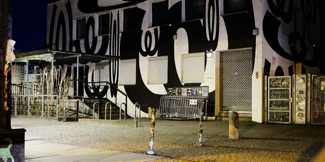 In this March 21, 2020, photo, an entrance door of music club Watergate is closed in Berlin, Germany. (AP Photo/Markus Schreiber)