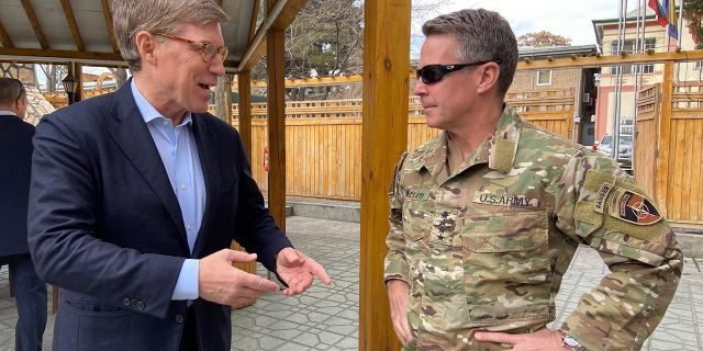 """Gen. Austin """"Scott"""" Miller shared with Fox News' Greg Palkot the reduction of US troops in Afghanistan is """"an optimization of forces."""""""