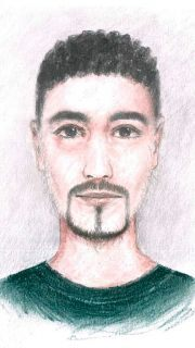 This picture provided on Thursday, March 5, 2020 by the Police of the German city of Dresden shows a sketch of a slim dark-haired man believed to be involved in the November 2019 theft of 18th-century jewels from a unique collection in Dresden.