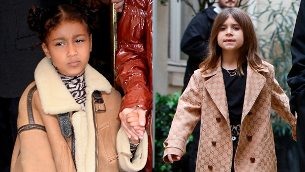 North West, 6, & Penelope Disick, 7, Twin In Animal Print Jumpsuits In Paris
