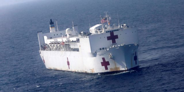 United States Navy hospital ship USNS Comfort is seen during its mission in the coast of Riohacha, Colombia November 27, 2018.