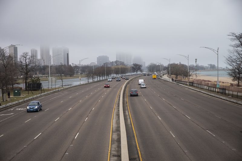 Little traffic could be seen on Lake Shore Drive near North Avenue shortly after 9 a.m.
