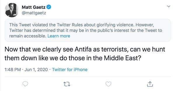 Twitter Places Warning on Congressman's Tweet for Glorifying Violence