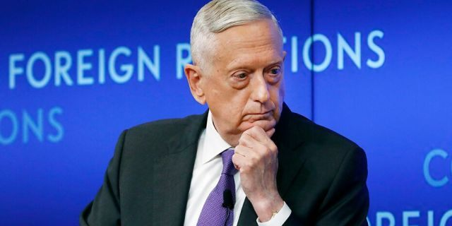 Former U.S. Secretary of Defense Jim Mattis listens to a question during his appearance at the Council on Foreign Relations, in New York, Tuesday, Sept. 3, 2019. (AP Photo/Richard Drew)