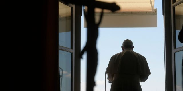 Pope Francis delivers his blessing from his studio window overlooking St. Peter's Square at the Vatican, May 31.  (Vatican News via AP)