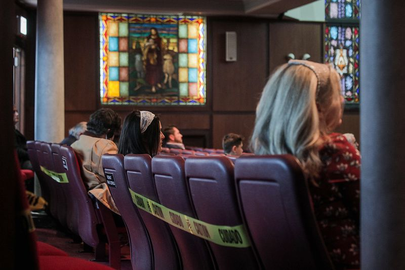Dozens of members of the Elim Romanian Pentecostal Church attend service on May 10, 2020