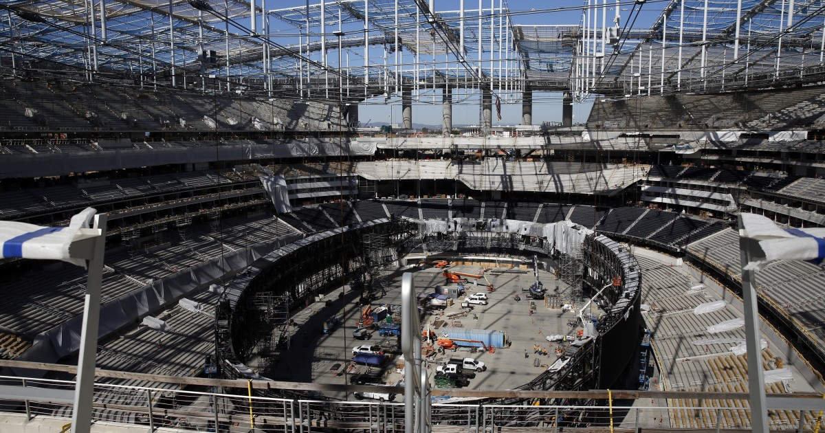 SoFi Stadium construction worker falls and dies, halting work on the project