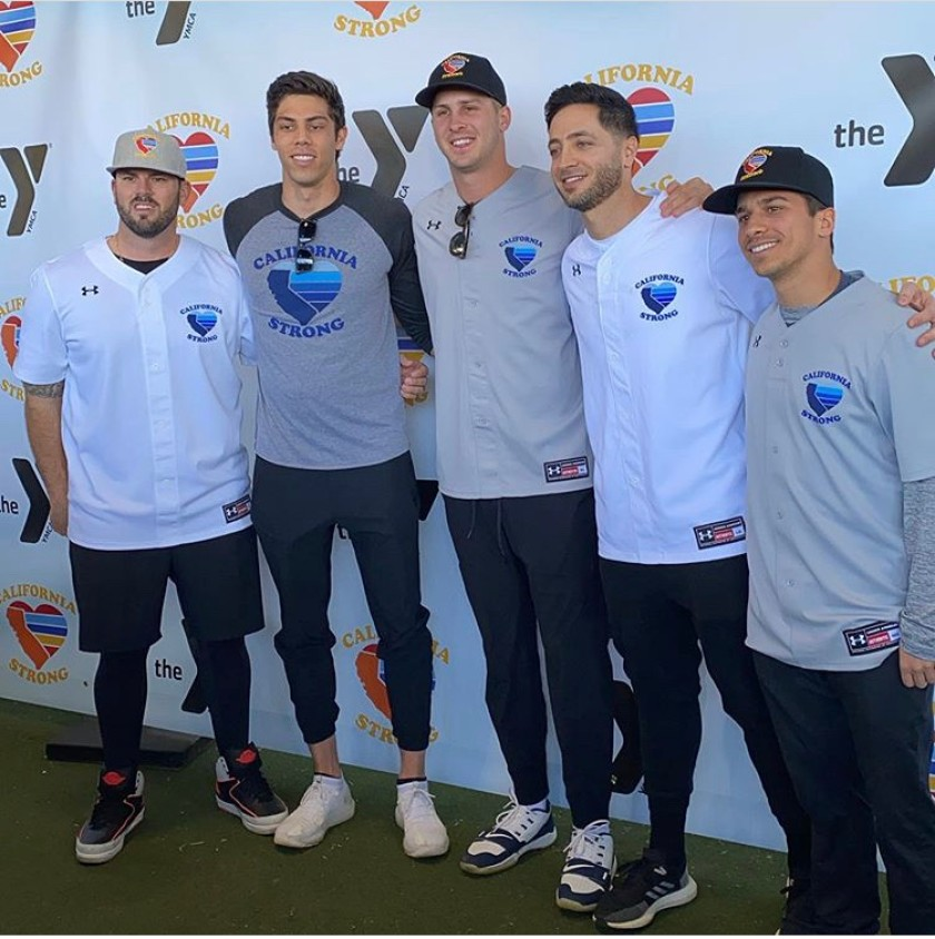 Mike Moustakas, Christian Yelich, Jared Goff, Ryan Braun and Mike Attanasio pose at a California Strong charity event.