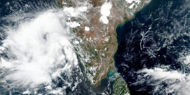 This May 31 satellite image released by NASA shows Cyclone Nisarga roaring toward the western coast of India.