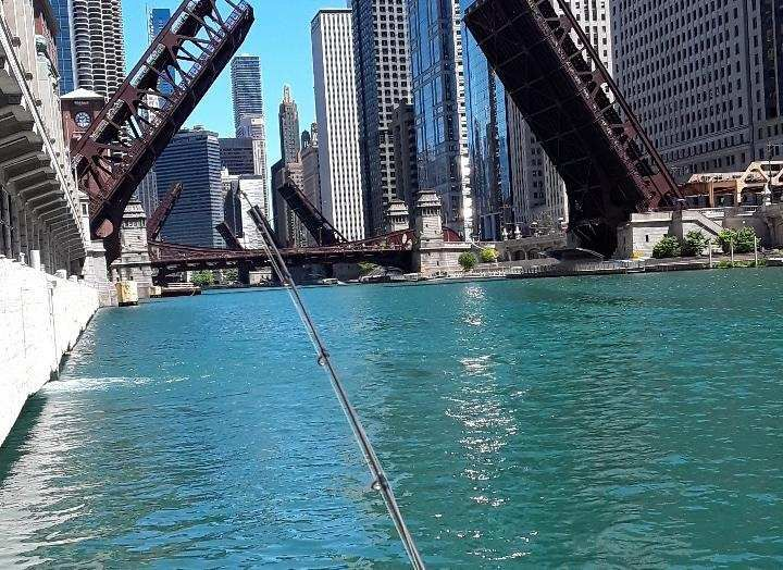 The Chicago River with its bridges up during the protests over George Floyd's death. Photo provided by Jeff Nolan