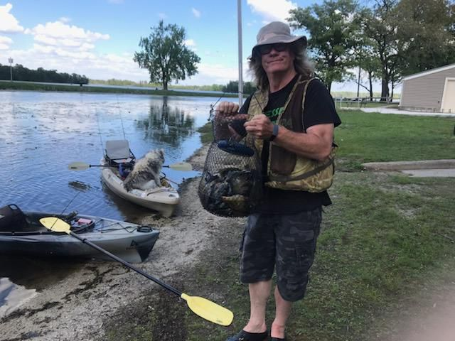 Lee Sczepanski with a mess of fish while kayaking at Willow Slough. Provided photo