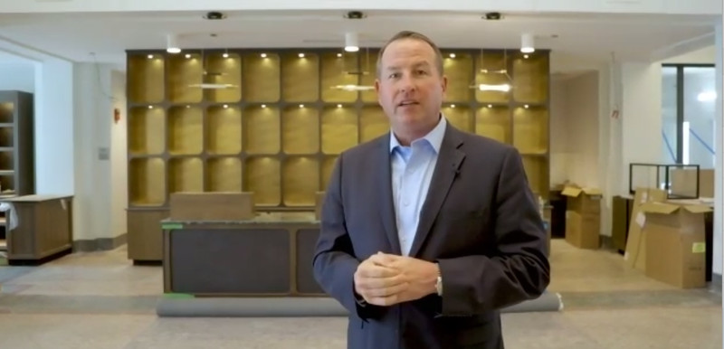 John Murphy, chair of the Murphy Development Group, leads a virtual tour of the renovated Cook County Hospital.