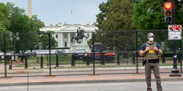 A nearly eight-foot high chain link fence was installed outside the White House, preventing individuals from being able to get into Lafayette Square--the scene of protests that turned violent in recent days.(Mark Meredith/FNC)