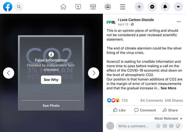 How Facebook Handles Climate Misinformation