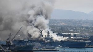 57 injured in fire aboard ship at Naval Base San Diego