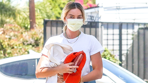Margot Robbie Rocks Daisy Dukes & Protective Face Gear For Casual Summer Outing