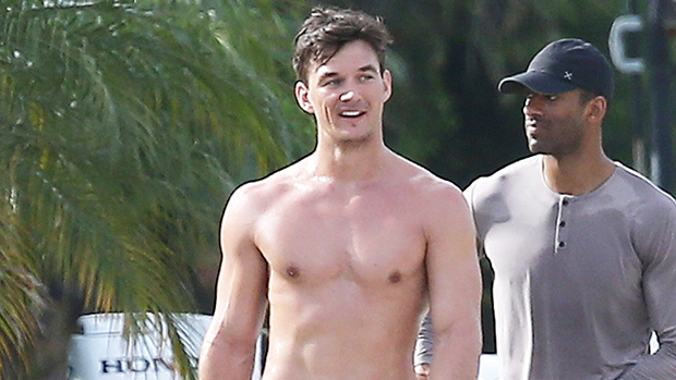 Tyler Cameron Shows Off His Ripped Abs While Skimboarding After Hanging Out With Hot Model