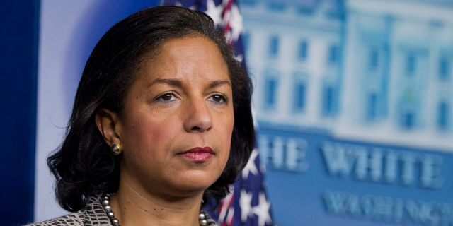 Then-national security adviser Susan Rice listens to reporters questions during a news briefing at the White House in Washington, March 21, 2014. (Associated Press)