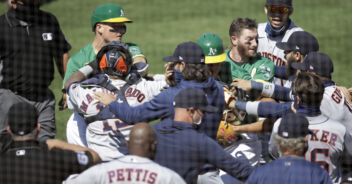 Tempers flare between Astros and Athletics as benches clear and players scuffle