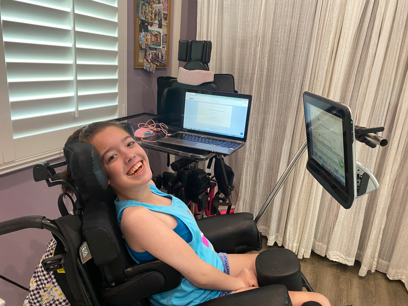 Student with cerebral palsy navigates rigors of distance learning, with help from mom, teachers