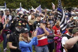 Portand, Oregon, police detain people at downtown rally