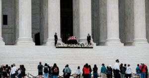 Trump is met by protesters as he visits Justice Ginsburg's coffin.