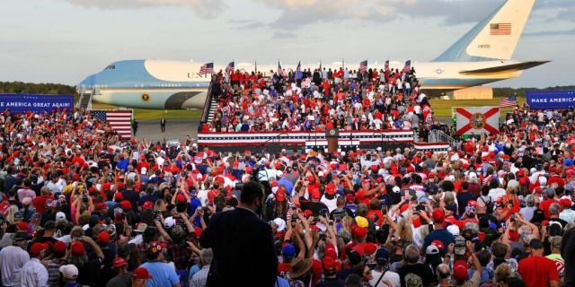 Air Force One stages behind a President Donald Trump campaign rally, Thursday, Sept. 24, 2020, in Jacksonville, Fla. (AP Photo/Stan Badz)