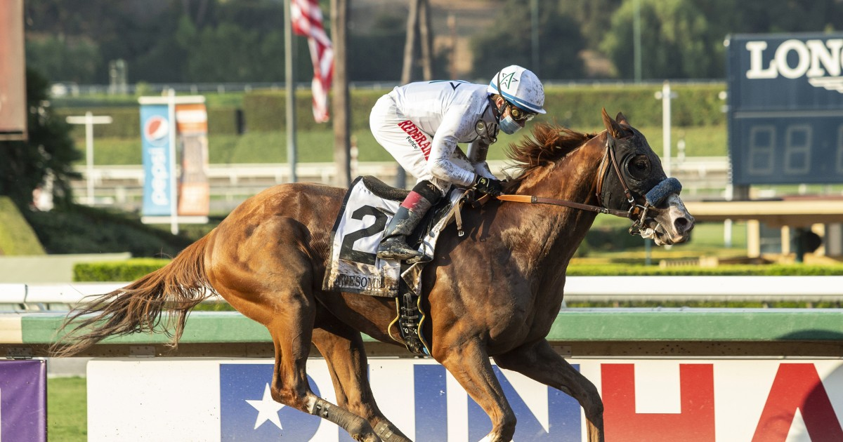 Improbable rallies for impressive victory in Awesome Again Stakes at Santa Anita