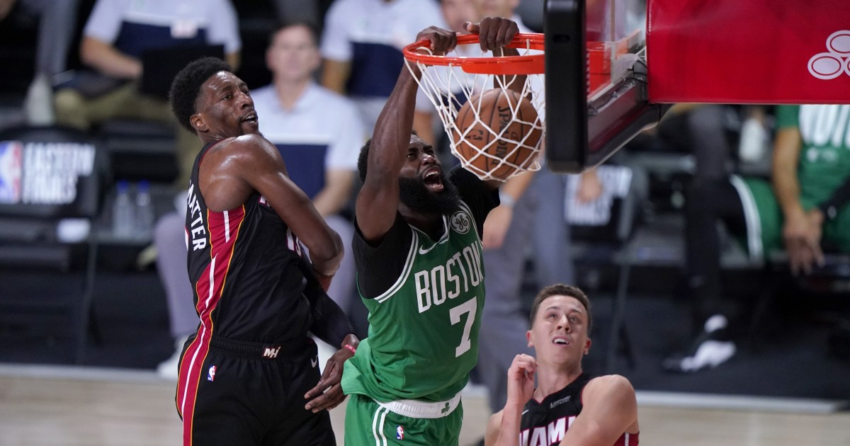 Jaylen Brown and Celtics rediscover what they do best in Game 3 win over Heat
