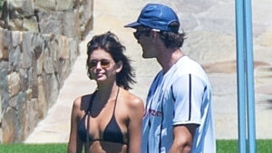 Kaia Gerber Rocks A Bikini Top & Skirt On Mexico Getaway With Jacob Elordi — Pics