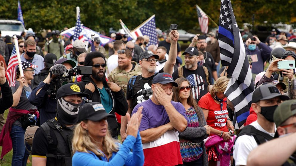 Portand, Oregon, police make arrests at downtown rally