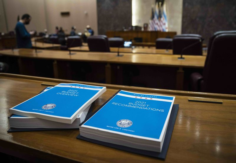 The city of Chicago's 2021 Budget Overview and 2021 Budget Recommendations city on a desk in the Chicago City Council chambers shortly before Mayor Lori Lightfoot delivers the budget address at City Hall, Wednesday morning, Oct. 21, 2020.