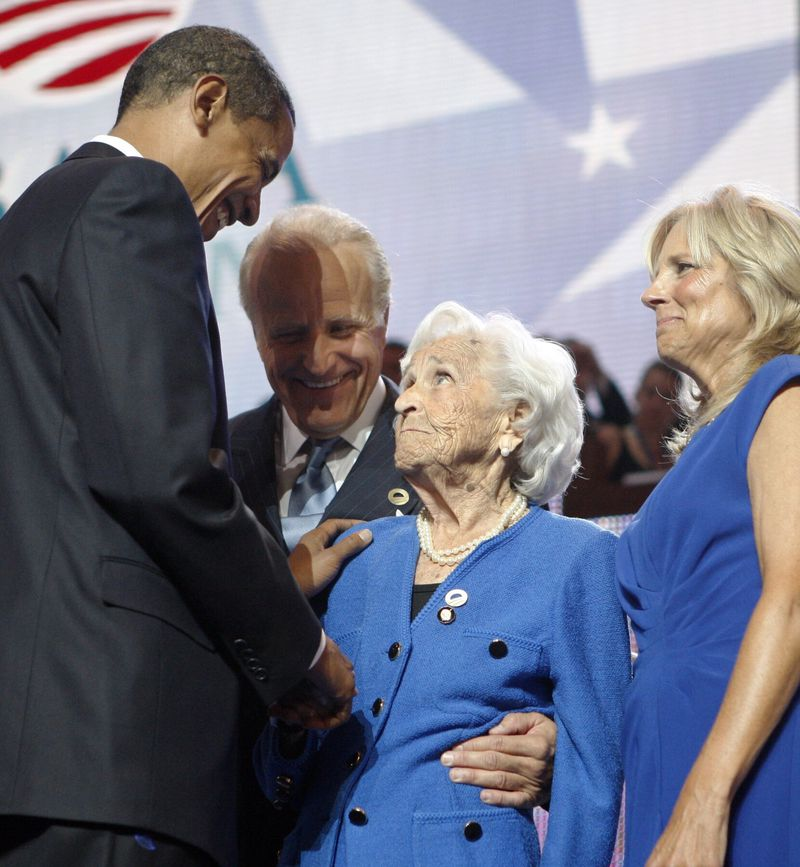 Joe Biden's brother Jim Biden (second from left) with then-Democratic presidential candidate Barack Obama, the Bidens' mother Jean Biden and Joe Biden's wife Jill Biden at the 2008 Democratic National Convention in Denver.