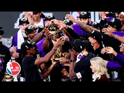 Los Angeles Lakers celebrate with the Larry O'Brien trophy   2020 NBA Finals