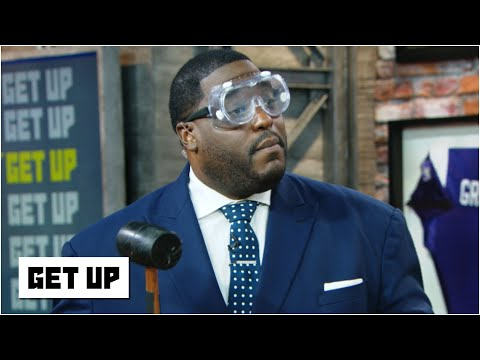 Damien Woody smashes tiny helmets with a mallet to predict NFL matchups   Get Up