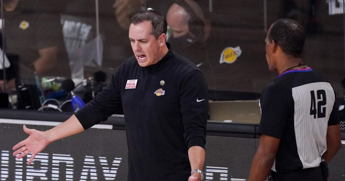 Lakers a victim of bad calls? Coach Frank Vogel perturbed by late fouls in Game 5