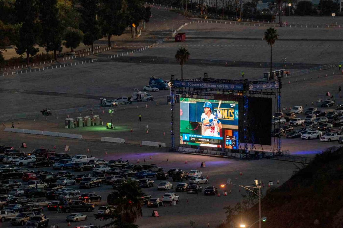 Photos: Fans roll to Dodger Stadium 'drive-in' for NL Championship Series