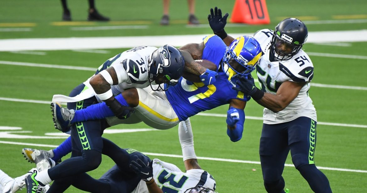 Rams defense picks off Russell Wilson, shuts down Seahawks to move to top of NFC West