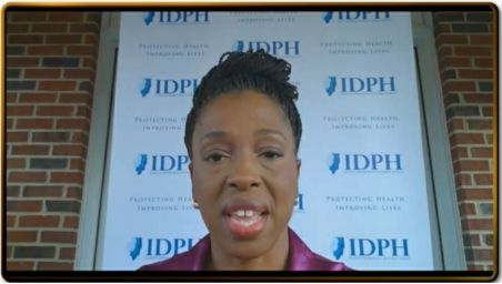 Dr. Ngozi Ezike, head of the Illinois Department o Public Health, participates virtually in Gov. J.B. Pritzker's daily COVID-19 briefing on Monday.