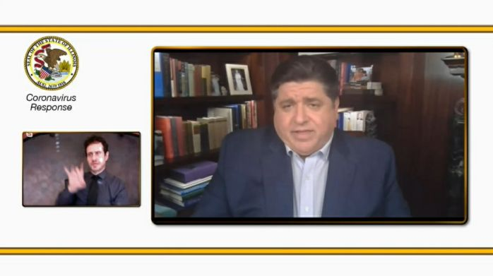 Gov. J.B. Pritzker delivers his daily COVID-19 update during a virtual briefing on Monday.