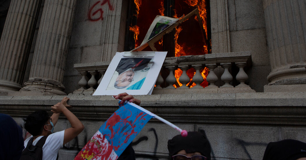 Protesters in Guatemala Set Fire to Congress Building Over Spending Cuts