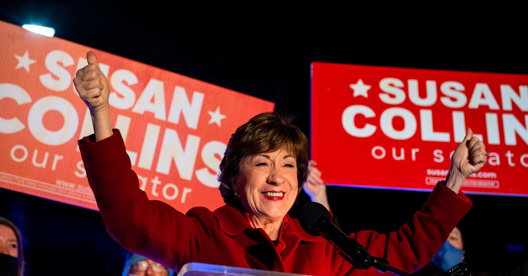 Senator Susan Collins of Maine claims victory, further dimming Democratic hopes of Senate control.