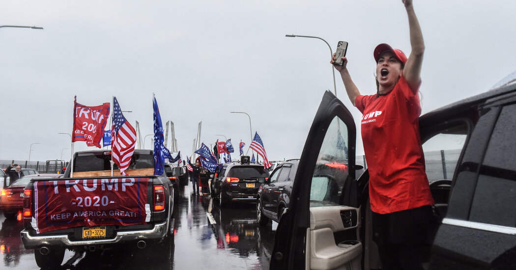 Trump's supporters block traffic on major roadways in New York and New Jersey.